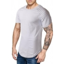 Men's Simple Plain Round Neck Pleated Short Sleeve Zip-Embellished Side Fitted T-Shirt