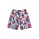 Stylish America Flag Letter Printed Drawstring Waist White Summer Beach Swim Trunks