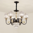 Modern Conical Shade Drop Pendant Clear Crystal Glass 6-Light Bedroom Chandelier Lighting Fixture in Black