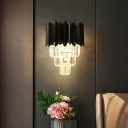 Tiered Wall Mounted Lighting Modern Crystal Rectangle 2 Bulbs Flush Wall Sconce in Black for Bedside