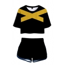 Cool Black Striped Printed Short Sleeve Crew Neck Relaxed Crop Tee Top & Shorts Set for Girls