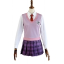 Cute Girls Purple Geo Printed Contrasted Vest Long Sleeve Shirt Mini Note Printed Pleated Skirt Set