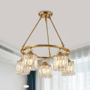 Clear Crystal Cylinder Drop Pendant Classic 5-Head Sitting Room Ring Chandelier Light Fixture in Gold