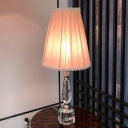 Pink Tapered Barrel Desk Lamp Modernist Pleated Fabric Single Bulb Parlour Table Light with Crystal Base