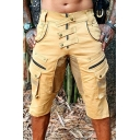 Outdoor Mens Shorts Button Flap Pocket Zipper Mid Rise Regular Fitted Shorts
