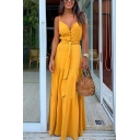 Elegant Ladies Plain Pleated Tie Front Button Spaghetti Straps Notched Neck Sleeveless Maxi Tiered Sun Dress