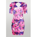 Sexy Womens Floral Printing Open Back Zipper Deep V Neck Short Puff Sleeve Short Bodycon Dress