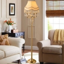 Scalloped Fabric Standing Light Rural Style 1 Light Living Room Floor Lamp in Gold with Dangling Crystal Accent