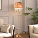 Coffee Finish Scalloped Floor Lighting Traditional Fabric 4 Heads Living Room Crystal Standing Lamp