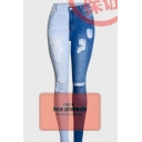 Womens Creative Distressed Pockets Zipper Fly Full Length Slim Fit Jeans with Washing Effect