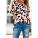 Casual Womens Leopard Printed Long Sleeve Drawstring Relaxed Fit Hoodie in Pink