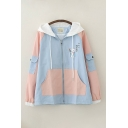 Pretty Japanese Letter Cat Embroidered Contrasted Long Sleeve Hooded Drawstring Zipper Front Relaxed Jacket for Girls