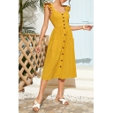 Yellow Popular Womens Solid Color Button up Ruched Gathered Waist Backless Pocket Square Neck Ruffle Sleeves Midi A-Line Dress