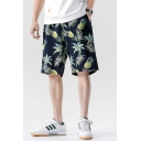 Leisure Shorts Leaf Pineapple Pattern Pocket Drawstring Mid Rise Loose Fitted Shorts for Men