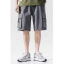 Chic Cargo Shorts Applique Pocket Drawstring Mid Rise Loose Fitted Cargo Shorts for Men