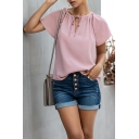Trendy Summer Womens Solid Color Drawstring V Neck Short Sleeve Relaxed Fit Tee Top