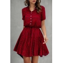 Ladies Checkered Plaid Printed Drawstring Pleated Button Down Short Sleeve Stand Neck Short A-Line Popular Dress