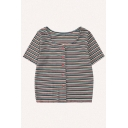 Chic Stripe Printed Knitted Short Sleeve Round Neck Button up Fitted Crop Cardigan
