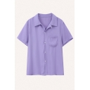 Casual Womens Solid Color Short Sleeve Spread Collar Button up Chest Pocket Relaxed Shirt