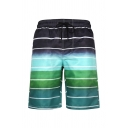 Mens 3D Fashion Relax Shorts Color Block Cross Stripe Leaf Pattern Drawstring Mid Waist Knee-length Straight Fit Relax Shorts with Pocket