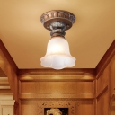 Blue/Pink/Coffee Canopy Scalloped Ceiling Fixture Rural Style Opal Glass 1 Light Corridor Flush Mount with Floral Design