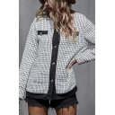 Vintage Womens Plaid Printed Contrast Piping Long Sleeve Button Closure Regular Fit Cardigan Coat in White