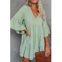 Pretty Womens Solid Color Bell Sleeve V-neck Ruffled Trim Short Swing Dress