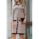 Casual Womens Contrast Trim Round Neck Long Sleeve Fitted Crop Knit Top & Button Detail Two-Pocket Short Bodycon Skirt Set in Khaki