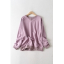 Simple Womens Solid Color Triangle Patchwork Long Sleeve Crew Neck Loose Fit Pullover Sweatshirt