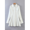 Simple Long Sleeve Point Collar Button Up Flap Pockets Long Regular Fit Shirt Top in White