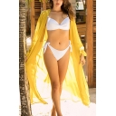 Sexy Solid Color Open Front Long Split-Sleeve Sunscreen Oversized Maxi Beach Dress for Women
