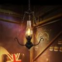 Black Pear-Like Hanging Lamp Kit Vintage Clear Glass Single Light Bar Ceiling Hang Fixture