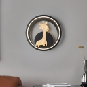 Deer Wall Lighting Cartoon Metal Black/Grey LED Wall Light with Round Acrylic Shade in Warm/White Light