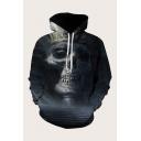 Mens 3D Hooded Sweatshirt Simple Skull Striped Scarf Printed Drawstring Long Sleeve Regular Fit Hooded Sweatshirt
