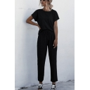 Casual Womens Solid Color Short Sleeve Crew Neck Relaxed T Shirt & Ankle Relaxed Fit Pants Co-ords