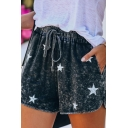 Leisure Allover Star Printed Drawstring Waist Relaxed Shorts for Women