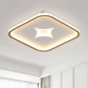 Square/Rectangle Metal LED Flush Lamp Simplicity Black/Gold Ceiling Flush Mount in White Light, 16