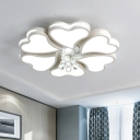 Heart Flush Mount Light Fixture Modern Style Acrylic 6/8 Bulbs White LED Ceiling Lighting for Bedroom