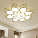 3-Tier Lotus Flush Light Fixture Modernism Acrylic LED Bedroom Ceiling Lighting in White, 21.5