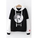 Preppy Girls Comic Figure Letter And Graphic Contrasted Long Sleeve Drawstring Loose Fit Hoodie