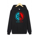 Simple Letter Half Cold Half Hot Contrasted Graphic Long Sleeve Relaxed Fit Hoodie