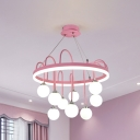 Macaron Ball Ceiling Chandelier White Glass 9-Light Children Room Suspension Lighting with Arc Arm in Pink