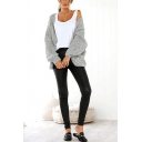 Leisure Plain Chunky Knit Blouson Sleeve Open Front Loose Fit Cardigan for Ladies