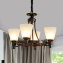 Black Conical Pendant Lighting Traditional Metallic 4/6 Lights Living Room Hanging Light