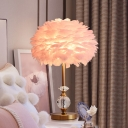 1-Bulb Children Room Task Lamp Simplicity Pink Nightstand Light with Domed Feather Shade