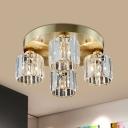 Gold 4-Head Semi Mount Lighting Postmodern Crystal Prism Cylindrical Flush Ceiling Light