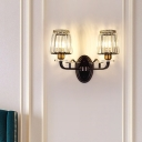 2-Bulb Wall Light Sconce Retro Living Room Wall Lamp with Cone Crystal Prism Shade in Black