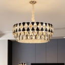 Drum Dining Room Pendant Light Modernist Cut Crystal 12-Light Black Chandelier Lamp