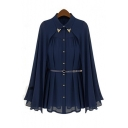 Charming Lapel Plain Cape Blouses Cape Style Design Single-breasted Chiffon Blouse