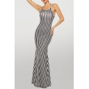 Trendy Striped Pattern Halter Hollow out Back Maxi Fishtail Slip Dress in Black